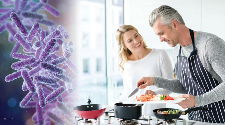 Couple cooking proper diet and bacteriophages for balanced gut microbiome