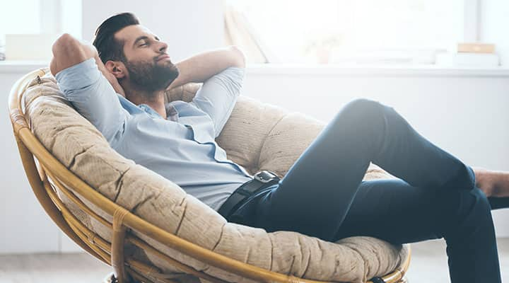 Man feeling relaxed after stress relief