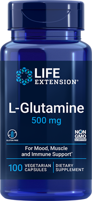 L-Glutamine, 500 mg, 100 vegetarian capsules - Life Extension