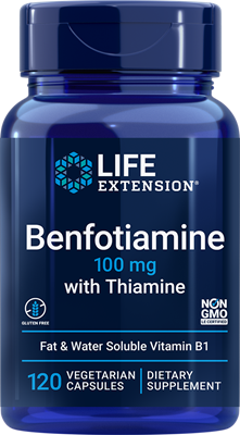 Benfotiamine with Thiamine, 100 mg, 120 vegetarian capsules - Life Extension