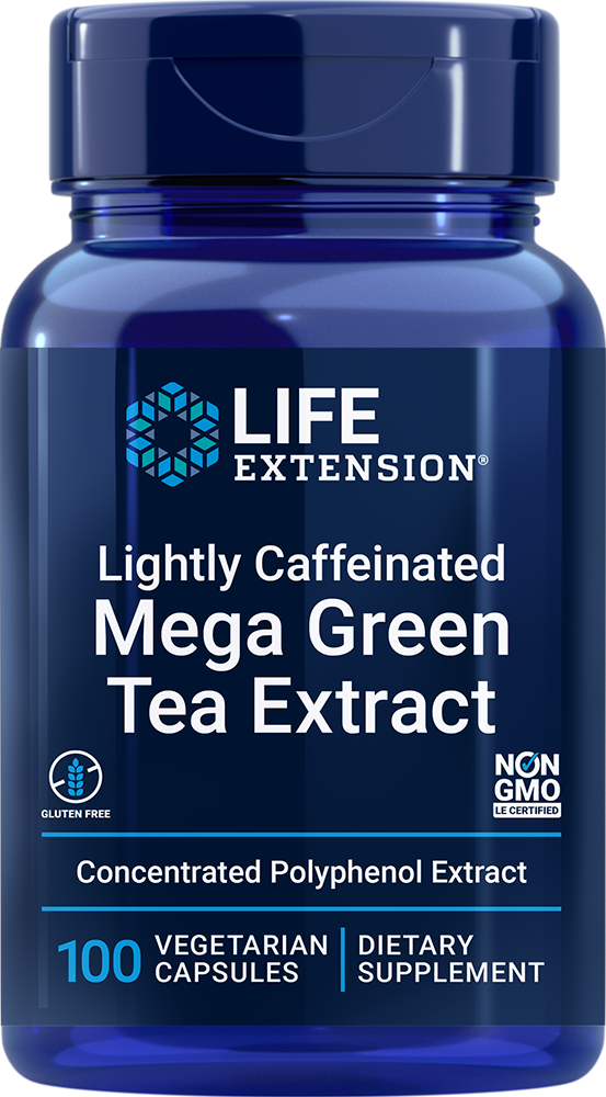 Mega Green Tea Extract (lightly caffeinated) - One capsule provides more polyphenols than seven cups of green tea