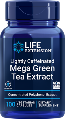 Lightly Caffeinated Mega Green Tea Extract, 100 vegetarian capsules - Life Extension