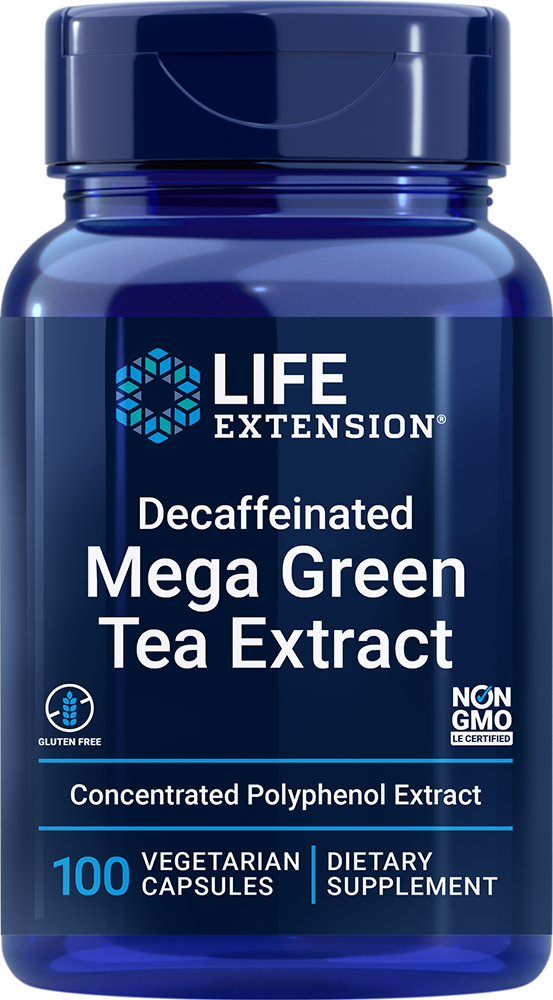 Mega Green Tea Extract (decaffeinated) - One capsule provides more polyphenols than seven cups of green tea