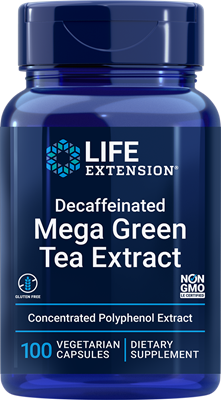 Decaffeinated Mega Green Tea Extract, 100 vegetarian capsules - Life Extension