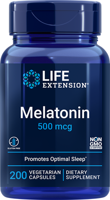 Melatonin, 500 mcg, 200 vegetarian capsules - Life Extension