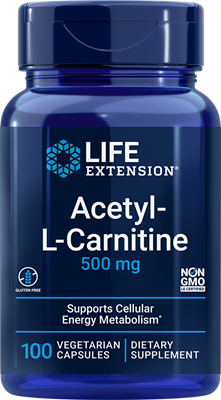 Acetyl-L-Carnitine, 500 mg, 100 vegetarian capsules - Life Extension