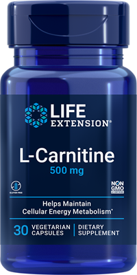 L-Carnitine, 500 mg, 30 vegetarian capsules - Life Extension