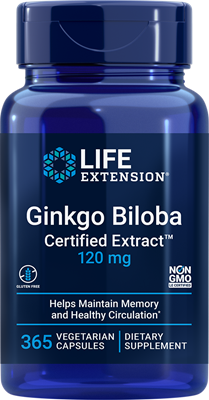 Ginkgo Biloba Certified Extract, 120 mg, 365 vegetarian capsules - Life Extension