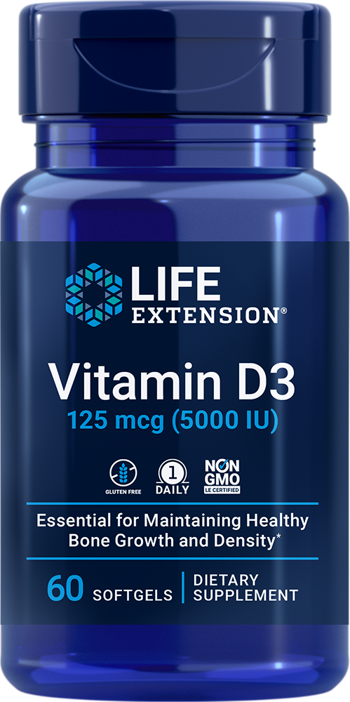 Vitamin D3, 5,000 IU, 60 softgels - Life Extension