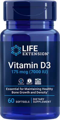 Vitamin D3, 175 mcg (7000 IU), 60 softgels - Life Extension