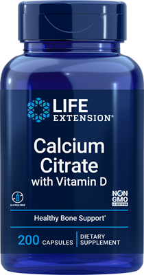 Calcium Citrate with Vitamin D, 200 capsules - Life Extension