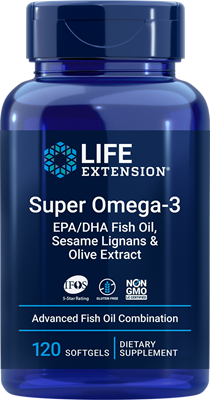 Super Omega-3 EPA/DHA Fish Oil, Sesame Lignans & Olive Extract, 120 softgels - Life Extension