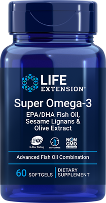 Super Omega-3 EPA/DHA Fish Oil, Sesame Lignans & Olive Extract, 60 softgels - Life Extension