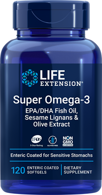 Super Omega-3 EPA/DHA Fish Oil, Sesame Lignans & Olive Extract, 120 enteric-coated softgels - Life Extension