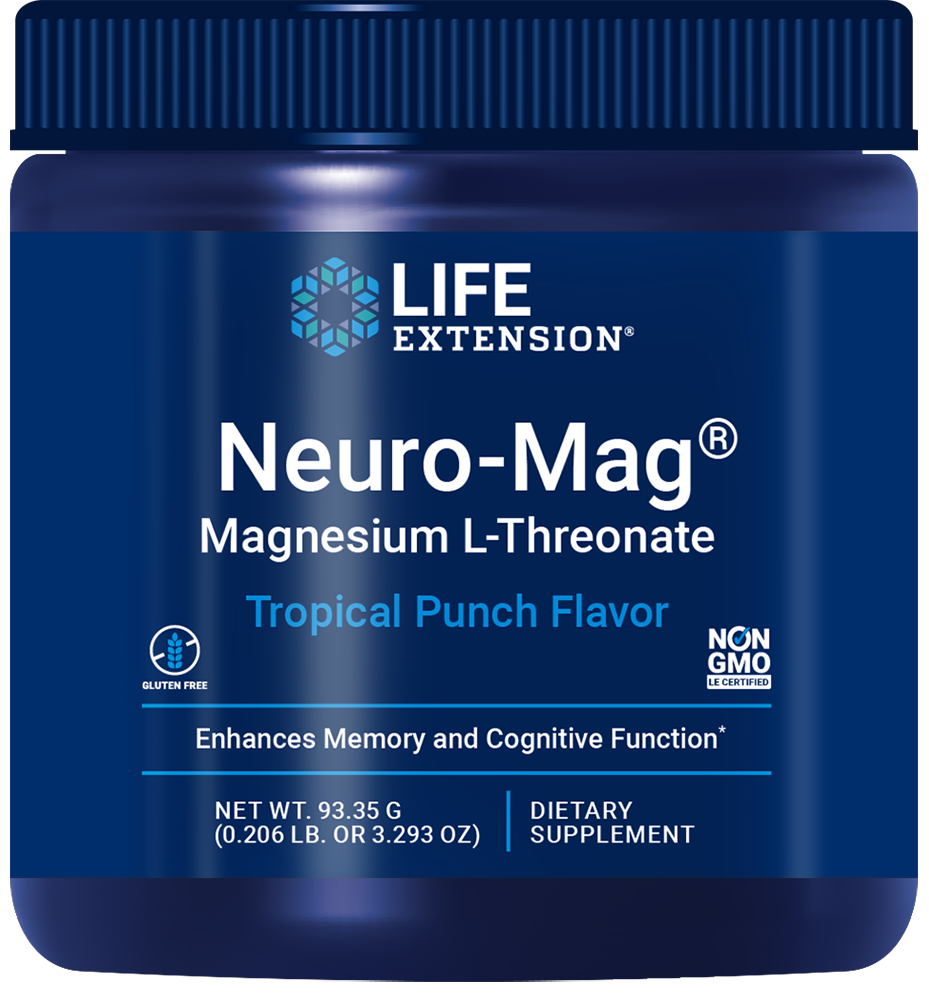 Neuro-Mag® Magnesium L-Threonate Powder - Delicious tropical punch flavored drink mix for memory health and cognitive function