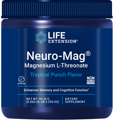 Neuro-Mag Magnesium L-Threonate (Tropical Punch), 93.35 grams - Life Extension