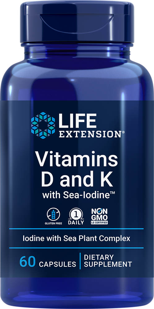 Vitamins D and K with Sea-Iodine™ - Helps maintain bone density & promotes vascular health
