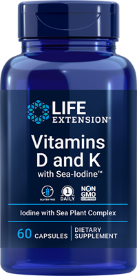 Vitamins D and K with Sea-Iodine, 60 capsules - Life Extension
