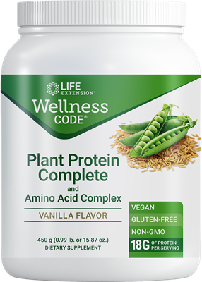 Wellness Code Plant Protein Complete & Amino Acid Complex (Vanilla), 450 grams - Life Extension