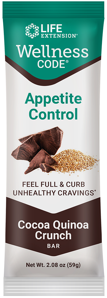 Wellness Code™ Appetite Control™ Bar: Cocoa Quinoa Crunch - Delicious cocoa-flavored bar helps inhibit junk food cravings