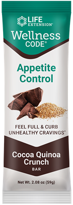 Wellness Code Appetite Control Bar (Cocoa Quinoa Crunch), 12 each - Life Extension