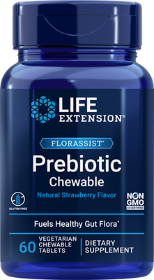 FLORASSIST Prebiotic Chewable (Strawberry), 60 chewable tablets - Life Extension
