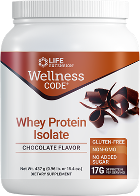 Wellness Code Whey Protein Isolate (Chocolate), 437 grams - Life Extension