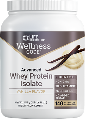 Wellness Code Advanced Whey Protein Isolate (Vanilla), 454 grams - Life Extension