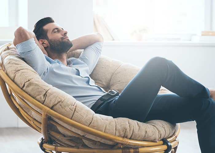 man looking relaxed because he's in a good mood