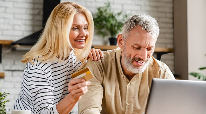 Parents making an online purchase