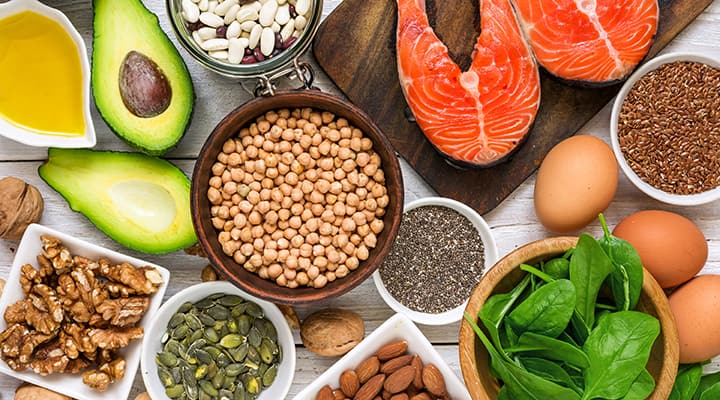 A healthy collection of food rich in omega 3