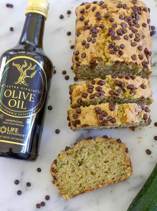 Healthy, more nutritious zucchini bread with EVOO