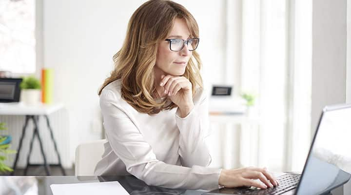 Woman at work with heightened alertness and improved concentration