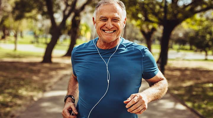 Older man jogging to maintain a healthy weight