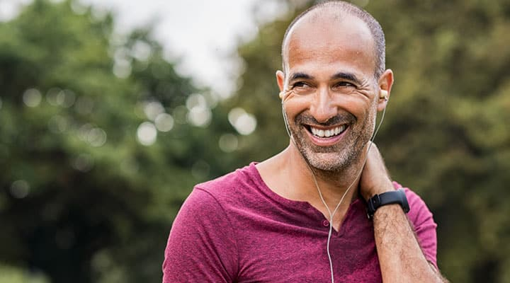 Man excercising outdoors to improve his dopamine levels