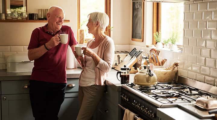 Elderly couple feeling good and healthy