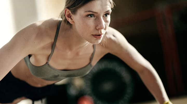 Woman exercising on a healthy diet for weight management