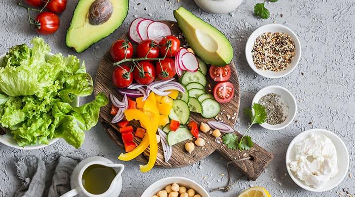 Mediterranean diet foods spread on platter