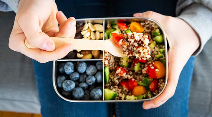 Protein-rich bento box with healthy options