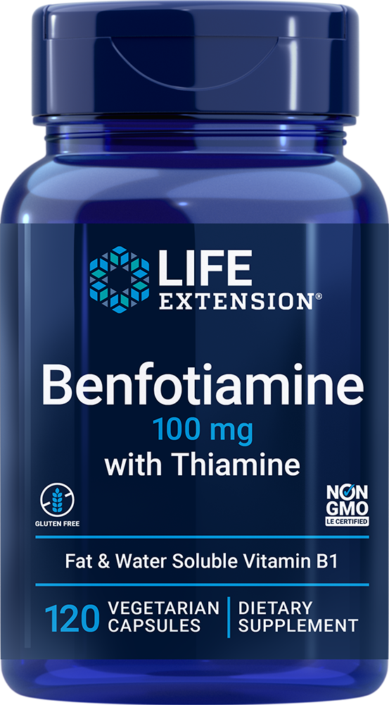 Life Extension Benfotiamine with Thiamine - 100 mg (120 Capsules, Vegetarian)