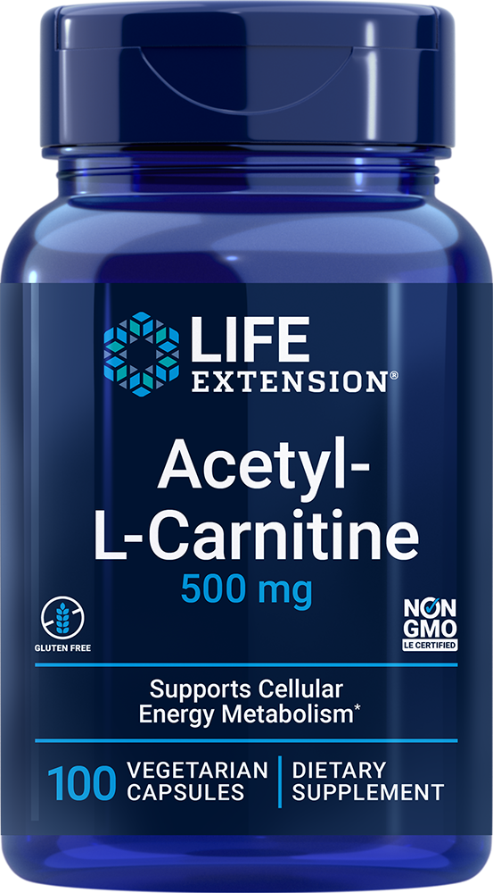 Life Extension Acetyl-L-Carnitine - 500 mg (100 Vegetarian Capsules)