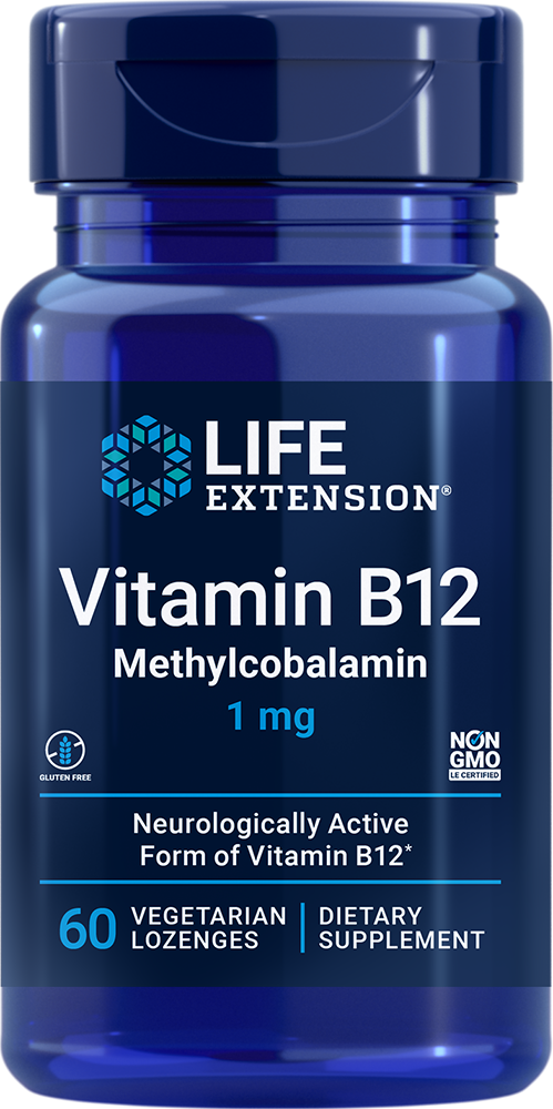Life Extension Vitamin B12 Methylcobalamin - 1 mg (60 Lozenges, Vegetarian)