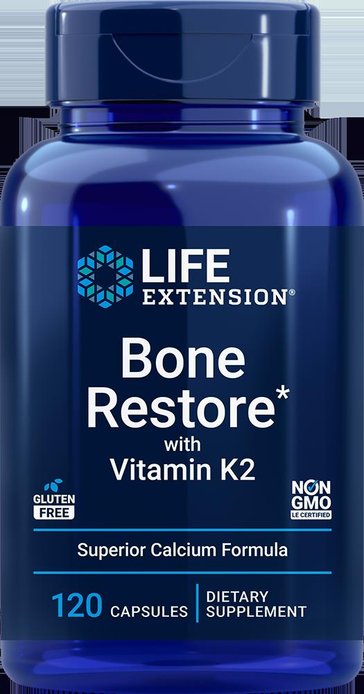 Life Extension Bone Restore with Vitamin K2 (120 Capsules)