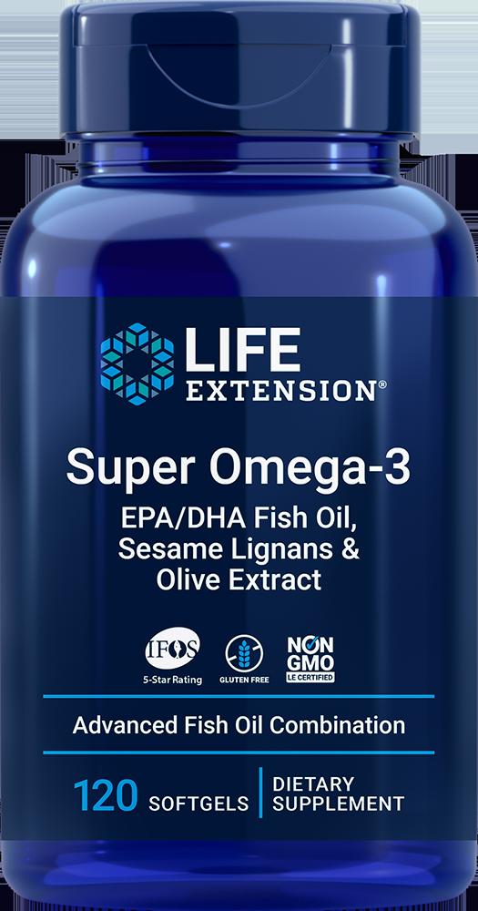 Life Extension Super Omega-3 EPA/DHA Fish Oil, Sesame Lignans & Olive Extract (120 Softgels)