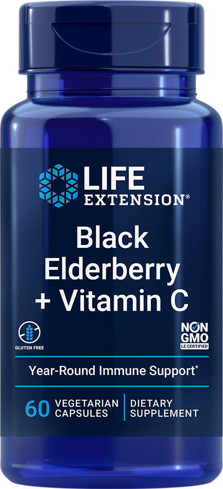 lifeextension.com - Life Extension Black Elderberry + Vitamin C (60 Vegetarian Capsules) 24.00 USD