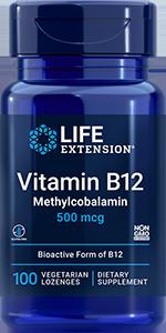 Life Extension Vitamin B12 - 500 mcg (100 Lozenges)