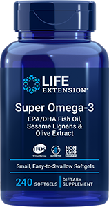 Life Extension Super Omega-3 EPA/DHA Fish Oil, Sesame Lignans & Olive Extract (240 Softgels)