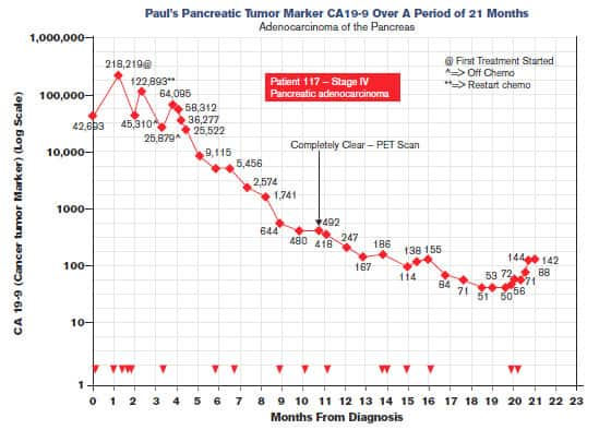 Paul's Pancreatic Tumor Marker CA19-9 Over A Period of 21 Months