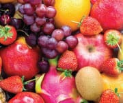 Brightly colored fruits, grapes, apples, strawberrys