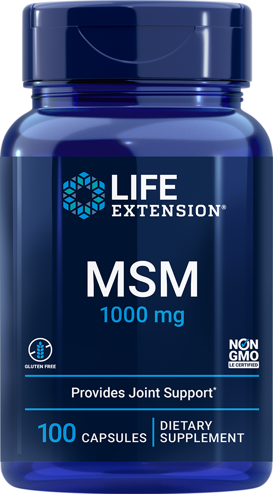 MSM  (methylsulfonylmethane or dimethylsulfone) is a sulfur-containing molecule  found in various plants and some body tissues.1-5 MSM is a vital  building block of joints, cartilage, skin, hair and nails. It is an efficient  source of the sulfur that is used